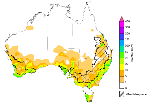 Map showing weekly rainfall totals in Australia. Image provided by the Bureau of Meteorology. Please refer to accompanying text for a more detailed description.