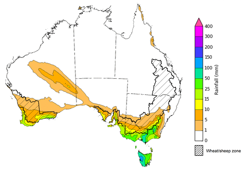 Map of the total forecast rainfall for the next 8 days. Image provided by the Bureau of Meteorology. Please refer to accompanying text for a more detailed description.