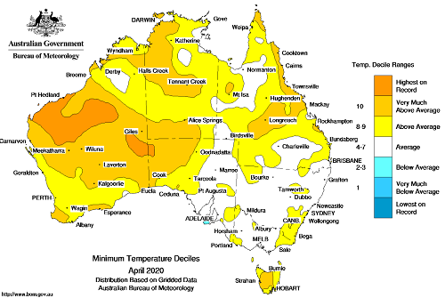 Map showing minimum temperature anomalies for Australia. Image provided by the Bureau of Meteorology. Please refer to accompanying text for a more detailed description.
